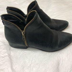 Kate & Mel Leather Zipper Booties Sz 6